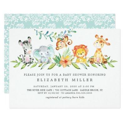 Sweet Safari Animals Neutral Baby Shower Invitation
