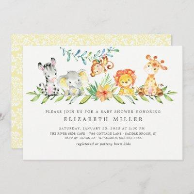 Sweet Safari Animals Neutral Baby Shower Invitation