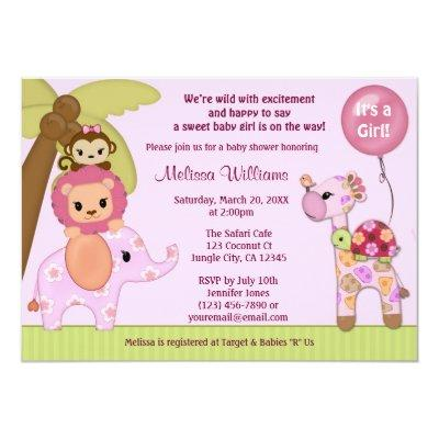 Sweet Safari Baby Shower invitation jungle girl SS