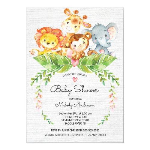 Sweet Safari Jungle Baby Shower Invitations