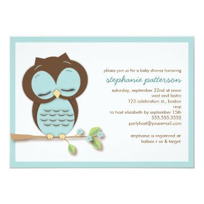 Sweet Sleepy Teal Owl Boy Invitations