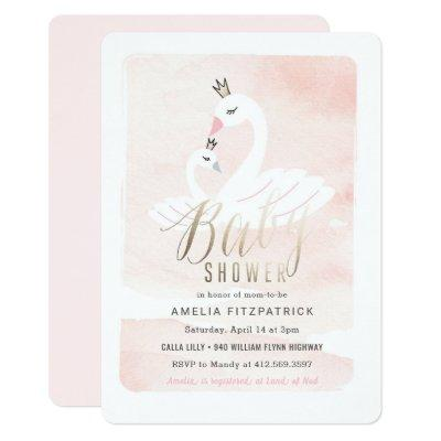 Sweet Swan Baby Shower Invitations with Foil