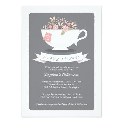 Sweet Teacup & Pink Floral Baby Shower Invitations