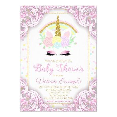 Sweet Unicorn Baby Girl Shower Invitations