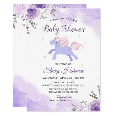 Sweet Unicorn Pastel Purple Floral baby shower Invitation