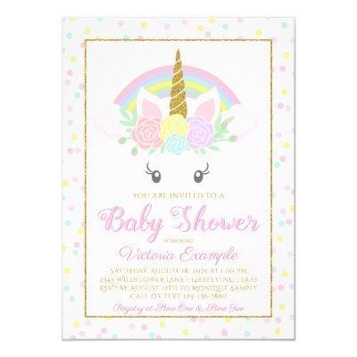 Sweet Unicorn Rainbow Baby Girl Shower Invitations