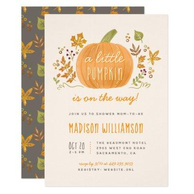 Sweet Watercolor Fall Little Pumpkin Baby Shower Invitation