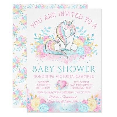 Sweet Watercolor Unicorn Baby Shower Invitation