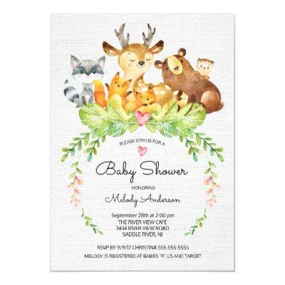 Sweet Woodland Animals Baby Shower Invitations