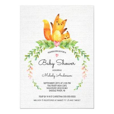 watercolor woodland animals baby shower invitations | baby shower, Baby shower invitations