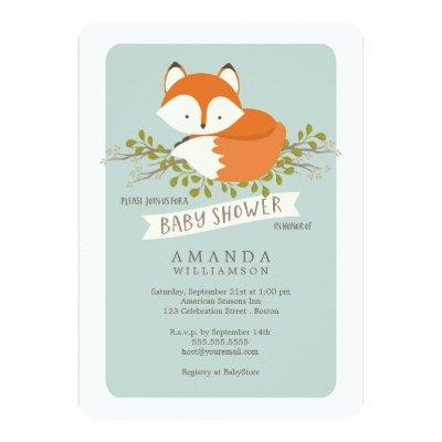 Sweet Woodland Fox Baby Shower Invitations