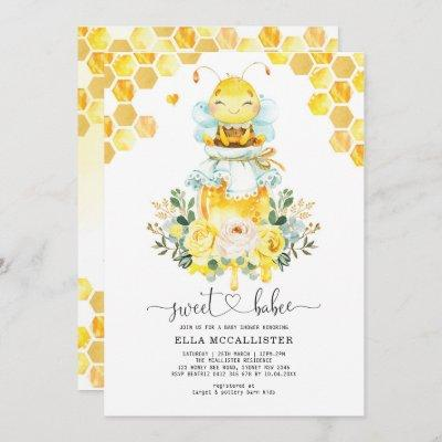 Sweet Yellow Gold Honey Bee Floral Baby Shower Invitation