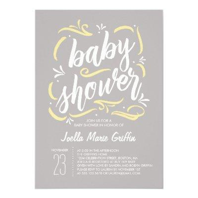 Sweetest Gray and Yellow Baby Shower Invitations