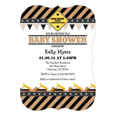 Tan Beige Construction Baby Shower Invitation
