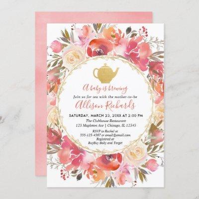 Tea party baby shower invitation, coral blush pink invitation