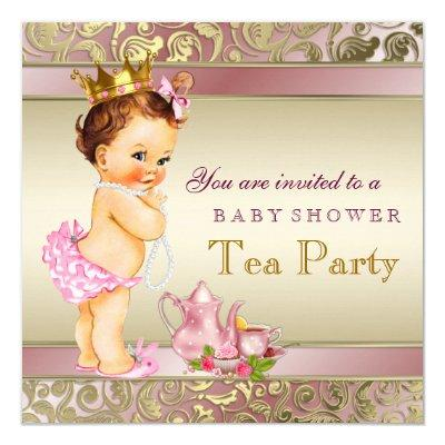 Tea Party Baby Shower Pink and Gold Pearl Invitations