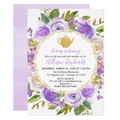 Tea party baby shower purple lavender lilac floral invitation