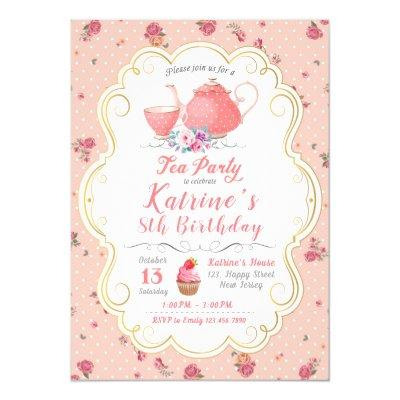 Tea Party Birthday. Tea Party Baby Shower Invitation