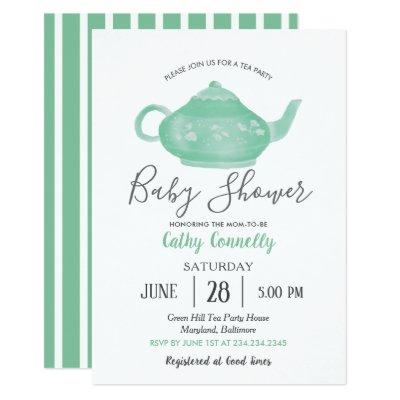 Tea Party Shabby Chic Baby Shower Invitation
