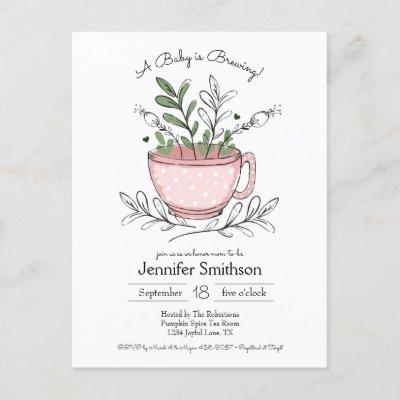 Teacup Floral Hand-drawn Tea Party Baby Shower Invitation Postcard