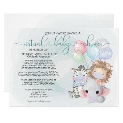 Teal 3 Cute Animals in Masks Virtual Baby Shower Invitation