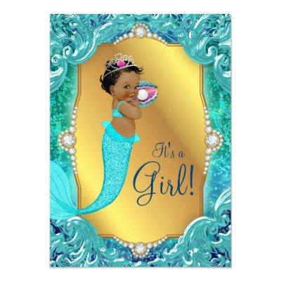 Teal African American Mermaid Sea Baby Shower Invitations
