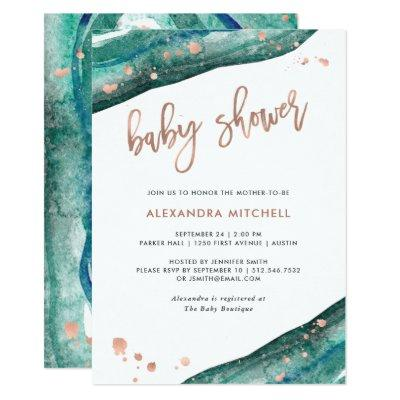 Teal and Faux Rose Gold Geode Baby Shower Invitations