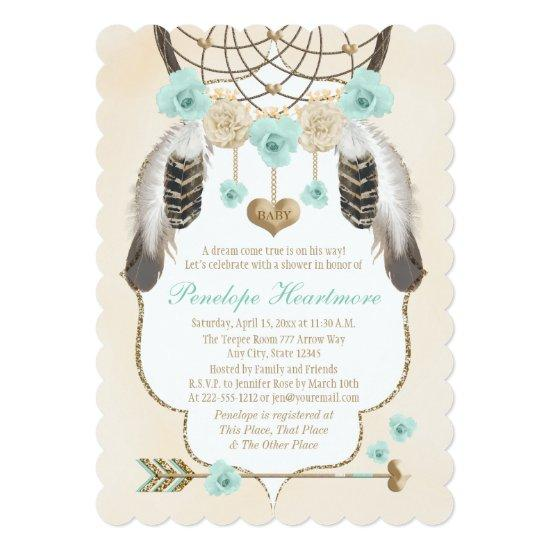 Teal and Gold Dreamcatcher Boho Baby Boy Shower Invitations Baby