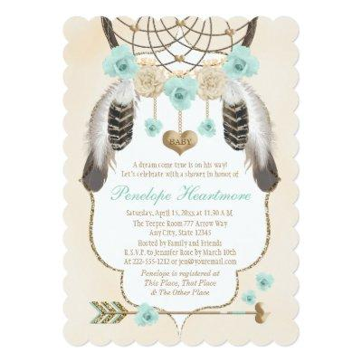 Teal and Gold Dreamcatcher Boho Baby Boy Shower Invitations