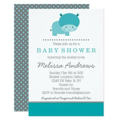 Teal and Gray Hippo Baby Shower Invitations