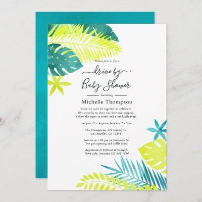 Teal and Lemon Tropical Drive By Shower Invitation