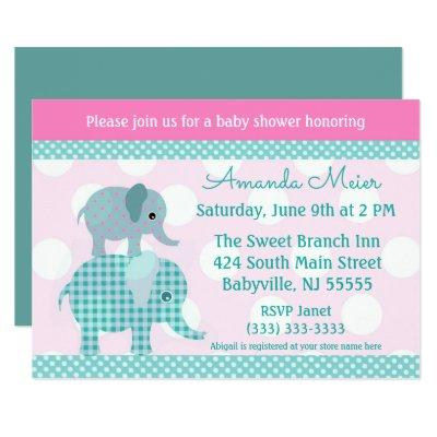 Teal and Pink Elephant Baby Shower Invitation