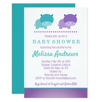 Teal and Purple Hippo Baby Shower Invitation