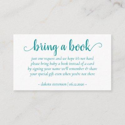 Teal Baby Shower | Aqua Blue-Green Book Request Enclosure Card