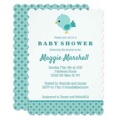 Teal Bird Baby Shower Invitation