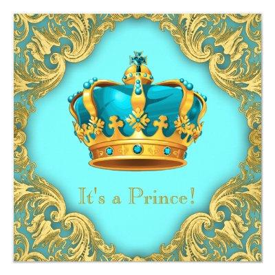 Teal Blue and Gold Prince Baby Shower Invitation
