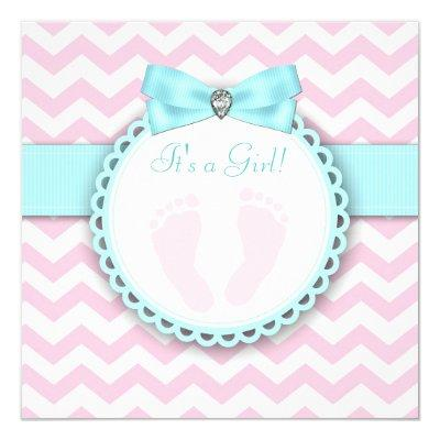 Teal Blue and Pink Footprint Baby Girl Shower Invitation