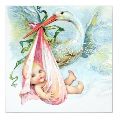 Teal Blue and Pink Vintage Stork Invitations