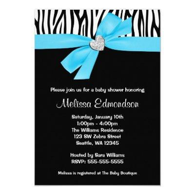 Teal Blue Bow Diamond Heart Zebra Baby Shower Invitation