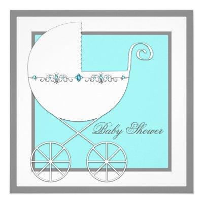 Teal Blue Carriage Baby Shower Invitation