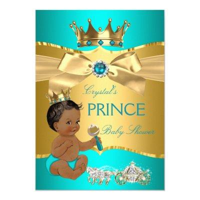 Teal Blue Gold Prince Baby Shower Ethnic Invitations