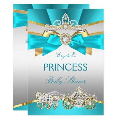 Teal Blue Gold Princess Baby Shower Carriage Invitations