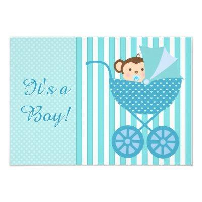Teal Blue Monkey Baby Shower Invitations
