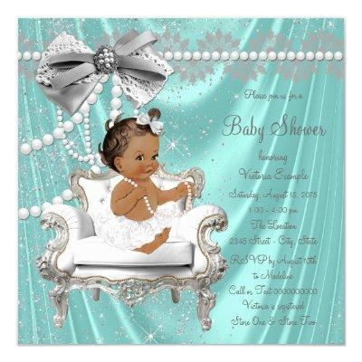 Teal Blue Pearl Chair Ethnic Girl Invitations