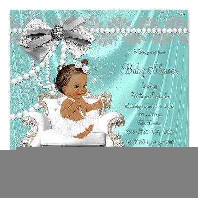 Teal Blue Pearl Chair Ethnic Girl Baby Shower Invitations