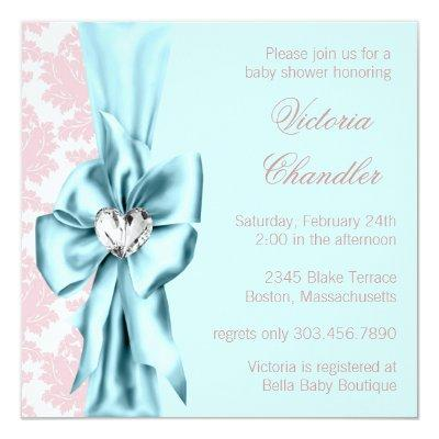 Teal Blue Pink Damask Bow Elegant Baby Girl Shower Invitations