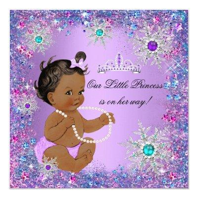 Teal Blue Purple Pink Princess Baby Shower Ethnic Invitations