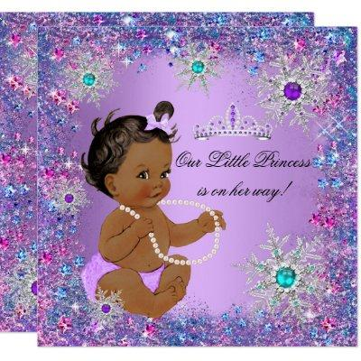 Teal Blue Purple Pink Princess Baby Shower Ethnic Invitation