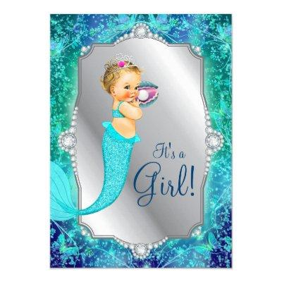 Teal Blue Silver Mermaid Under The Sea Baby Shower Invitations