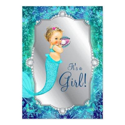 Teal Blue Silver Mermaid Under The Sea